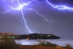 Thunder and Lightning Storm in Majorca.   Picture of Forked Lightning Strikes