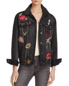 New Sunset & Spring Womens Fall/Winter Embellished Denim Jacket online - Prettyclothingstyle Denim Jacket Patches, Patched Jeans, Denim Jackets, Outerwear Jackets, Oversized Jacket, Printed Denim, Denim Outfit, Jackets Online, Colorful Fashion