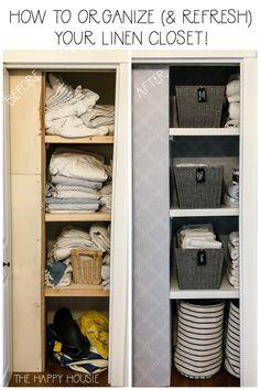 Simple Tips to Organize & Refresh Your Linen Closet Linen Closet Organization, Kids Room Organization, Closet Storage, Sheet Storage, Linen Storage, Diy Storage, Storage Ideas, Small Linen Closets, Bathroom Linen Closet