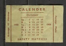 Calender October 1958 Vintage Matchbox Label | eBay