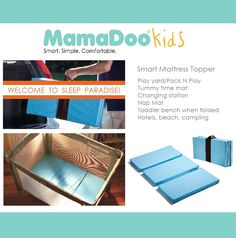 No more sleepless nights! Transform that hard play yard into a dreamy crib with the Smart Play Yard Mattress Topper! Portable and 5+ Smart Uses. For home, daycare, hotels, grandparents', camping and much more. Perfect Baby Shower gift! www.mamadookids.com