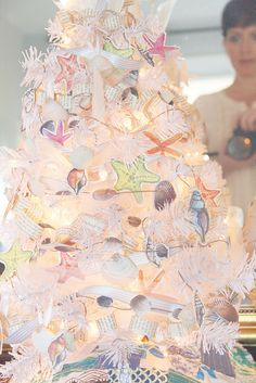 alisaburke: a coastal holiday part the result Pink Christmas Ornaments, Pink Christmas Decorations, Christmas Tree Design, Paper Ornaments, Winter Christmas, Christmas Time, Christmas Ideas, Merry Christmas, Beach Chic Decor