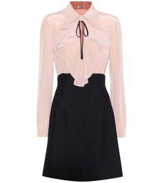 MIU MIU Pink and Black silk and crêpe dress | MyTheresa dot com #miumiudress