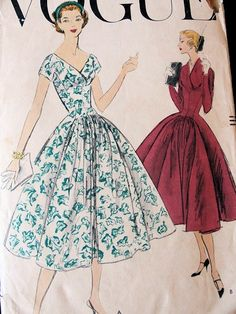 1950s PRINCESS STYLE COCKTAIL DINNER DRESS PATTERN 2 V NECKLINE STYLES, FULL SKIRTED VOGUE 9033