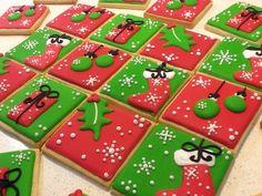 Christmas Sugar Cookies, Christmas Cupcakes, Holiday Cookies, Christmas Treats, Christmas Baking, Fancy Cookies, Iced Cookies, Cute Cookies, Cupcake Cookies