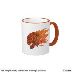 The Jungle Book | Shere Khan & Mowgli Ringer Coffee Mug. Regalos, Gifts. Producto disponible en tienda Zazzle. Tazón, desayuno, té, café. Product available in Zazzle store. Bowl, breakfast, tea, coffee. #taza #mug