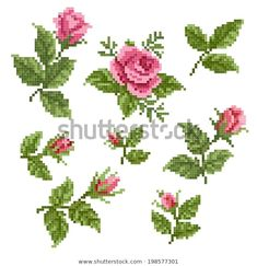 Benzer Bouquet of flowers (poppies and pansies) using traditional Ukrainian embroidery elements. Can be used as pixel-art. Görselleri, Stok Fotoğrafları ve Vektörleri - 397233148 Rose Embroidery, Silk Ribbon Embroidery, Cross Stitch Embroidery, Cross Stitch Patterns, Xmas Cross Stitch, Cross Stitch Flowers, Creative Embroidery, Hand Embroidery Designs, Diy Doll Miniatures