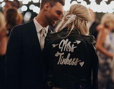 Napa Farm Chic Wedding // customized leather jacket with mrs. last name