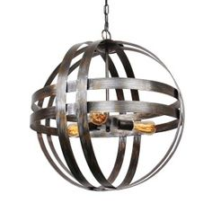 Shop for Atom Wine Barrels Iron Orb Chandelier. Get free delivery On EVERYTHING* Overstock - Your Online Ceiling Lighting Store! Wine Barrel Chandelier, Rustic Chandelier Lighting, Orb Chandelier, Farmhouse Chandelier, Modern Chandelier, Home Lighting, Chandeliers, Cool Designs, Chandelier