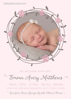 Thank you announcement - baby girl annoucement - pink brown flower pretty p Its A Girl Announcement, Baby Announcement Photos, New Baby Announcements, Baby Girl Nursery Themes, Baby Boy Rooms, Boy Shower, Baby Photos, Baby Gifts, New Baby Products