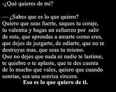 Que quieres de mi?