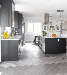 #kitchen #kitchens #modern #contemporary #sleek #ikea #yeg #design #interiordesign #decor #granite #open #herringbone floor #vinylplank #edmontondesigner #greys #whites #marblelook Plank, Ikea, Interior Design Services, Vinyl Flooring, Herringbone, Modern Contemporary, Granite, Kitchens, Interior Decorating