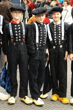 Dutch boys in regional costume,Staphorst