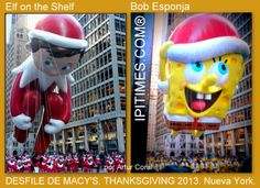 ELF ON THE SHELF y BOB ESPONJA. DESFILE DE MACY'S EN BROADWAY, MANHATTAN, NUEVA YORK. FOTO POR ARTUR CORAL /IPITIMES.COM. 28 NOV 2013.
