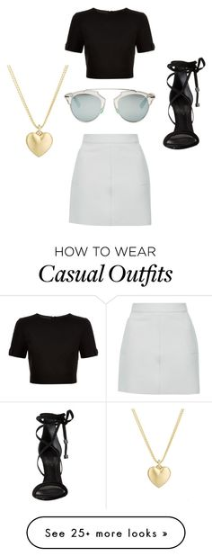 """Black meets casual"" by journeycarothers on Polyvore featuring Topshop, Ted Baker, Christian Dior, Schutz and Finn"