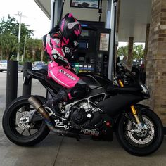 "motorcycles-and-more: "" Biker girl on Aprilia RSV4"""