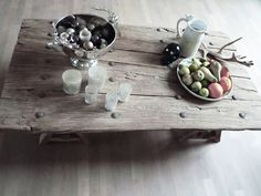 DIY:: Vintage coffee table tutorial (A table made from a vintage door, with metal fasteners)