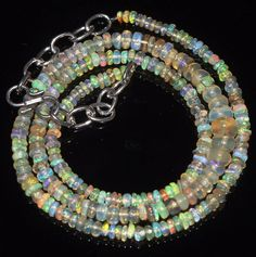 """35 Tcw 2 to 5.5 mm 16"""" Natural Ethiopian Welo Fire Opal Necklace ---187"""