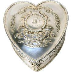Howard & Co. Art Nouveau Sterling Silver Garland Heart Jewelry Trinket Box