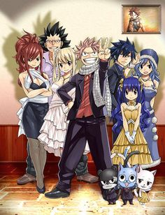 Fairy Tail | Erza, Gajeel, Lucy, Natsu, Gray, Wendy, Juvia, Pantherlily, Happy, Carla | the guild members | screensaver
