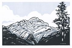 Gorgeous! Cascade Mountain, Banff, 3 Color Linocut Relief Print, Hand Pulled Fine Art, Limited Edition, Printmaking Original. $75.00, via Etsy.