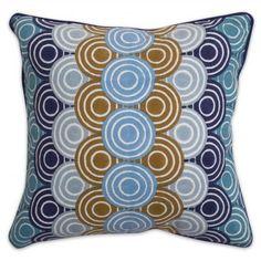 Blue bobo concentric circle pillow