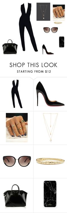 """Outfit #15"" by jenam015 on Polyvore featuring Donna Karan, Christian Louboutin, Natalie B, Oscar de la Renta, David Yurman and Givenchy"