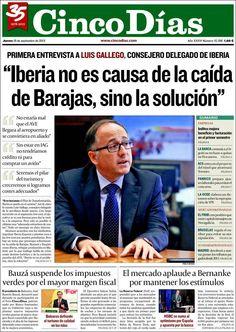 Los Titulares y Portadas de Noticias Destacadas Españolas del 19 de Septiembre de 2013 del Diario Cinco Días ¿Que le pareció esta Portada de este Diario Español?