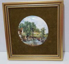 Coalport Plaque Painted Cottage Scene Bone China Framed Vintage Green Matt #Coalport
