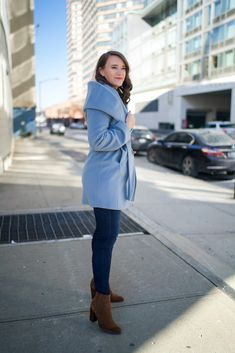 Light Blue Wrap Coat | Covering the Bases | Fashion and Travel Blog New York City