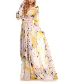 Loving this Yellow & White Semi-Sheer Floral Tie-Waist Maxi Dress - Plus Too on #zulily! #zulilyfinds