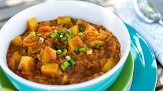 Curried tomato lentil soup. Ingredients, Serves 3  • ½ yellow onion, diced • 1 small carrot, diced • 1 teaspoon freshly grated ginger • 3 cloves garlic, minced • 1 tablespoon curry powder (berbere is preferable) • 1 teaspoon fenugreek seeds • 2½ cups vegetable broth • ¼ cup tomato paste • ¼ cup brown or green lentils • 1 Yukon Gold potato, diced • ¼ cup whole-wheat orzo pasta