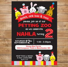 Petting Zoo Birthday Invitation Party Farm