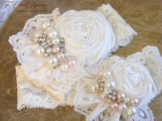 Wedding Garter Set Ruffles and Lace wth Ice  by TheChicaBoutique, $60.00