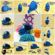 Tutorial pesce in pdz / sugarpaste fish tutorial Dory tutorial (Finding Nemo) - by The Cakeldy Make your own Dory. This Dory tutorial uses fondant for cakes, but could easily be done using polymer clay or playdough. From The CakeLdy Dory figurine from fin Cake Topper Tutorial, Fondant Tutorial, Fondant Toppers, Fondant Cakes, Fondant Baby, Dory Cake, Finding Nemo Cake, Finding Dory, Decors Pate A Sucre