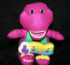 """Barney Sparkle N Sing Doll 2001 Plush Musical Toy and Lights Up 10"""" Stuffed EXC"""