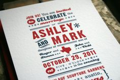 Texas inspired wedding invitation. This invite is available in all 50 states.  Fresh, handmade, unique and high quality wedding products from www.jackandjillwe...  #invites, #save_the_dates, #invitations, #weddings