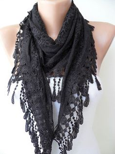 Laced Fabric - Black Laced Scarf with Special Black Trim Edge -