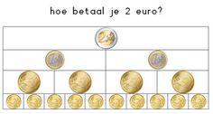 Juf Inger: hoe betaal je 2 euro? Kindergarten Math Activities, Preschool Education, Preschool Lessons, Teaching Math, Second Grade Math, School Hacks, Math Classroom, Fractions, Kids Learning