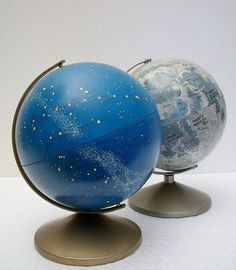 Vintage Globe Duo - Moon and Stars - Moon Globe Bank and Celestial Globe Vintage Moon, Vintage Globe, Moon Globe, World Globes, We Are The World, Home And Deco, Celestial, Antique Metal, Stars And Moon