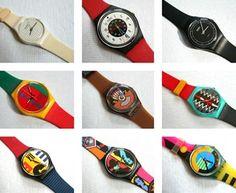 Swatch. Die moest je een hebben begin jaren 80. De vader van een vriendin had een horlogewinkel annex juwelierin Denbosch dus zij liep ieder half jaar met een nieuw exemplaar. Toen ik een keer in de winkel heb geholpen tijdens een braderie kreeg ik er een van haar vader!