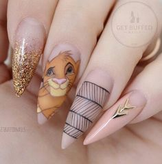 """Pointy nail designs are better known at the salons as """"Stiletto nails"""", perhaps the title explains why they have grown into such a popular fashion trend. Disney Acrylic Nails, Best Acrylic Nails, Disney Nails Art, Nail Swag, Ongles Hello Kitty, Lion King Nails, Lion Nails, Cute Nails, My Nails"""
