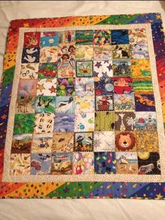 """I spy with my little eye 56 squares that help a journey go by! I wanted to share these fab """"I Spy Quilts"""" my mum made Lil H and Diva G. This is Lil H's lots of his favourite thing…"""