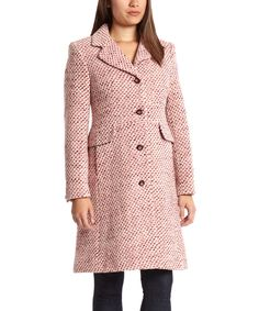 Look at this Fleet Street Raspberry Tweed Wool-Blend Peacoat on #zulily today!