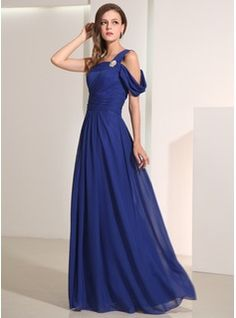 A-Line/Princess One-Shoulder Floor-Length Chiffon Charmeuse Holiday Dresses With Ruffle (020014193)