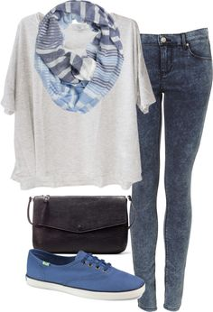 Eleanor inspired outfit for a recording studio!  Clu oversized tee / Skinny fit jeans / Keds retro shoes / Zara  bag / Fat Face striped scarve, $28