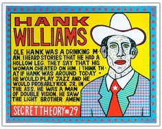 HANK WILLIAMS Secret Theory 29 Hand Printed by ChurchofType, $60.00