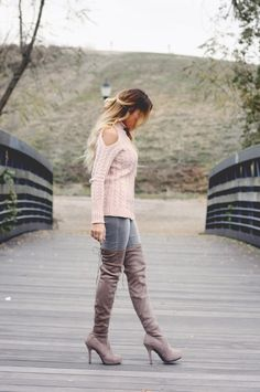 Pink Cold Shoulder Sweater and OTK Boots - Quartz & Leisure