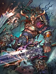 Thorim by Huy Ozuno on ArtStation. Fantasy Armor, Anime Fantasy, Dark Fantasy Art, Fantasy Character Design, Character Art, Samurai Artwork, Anime Monsters, Fantasy Art Landscapes, Aztec Art