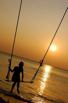 Koh Chang, Thailand sunset. My own swing over the ocean at sunset that's what I'm talking about!